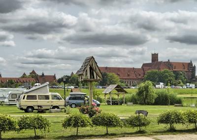 Widok zamku malborskiego z naszego kempingu